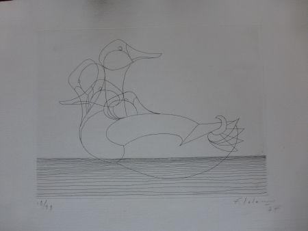 Radierung Lalanne - Le canard