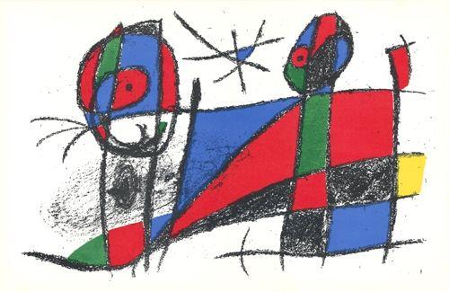 Lithographie Miró - Le chat heureux / The Happy Cat