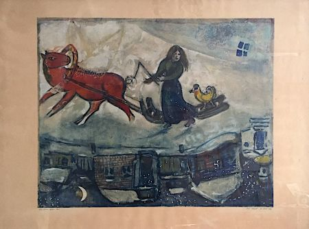 Lithographie Chagall - Le cheval rouge