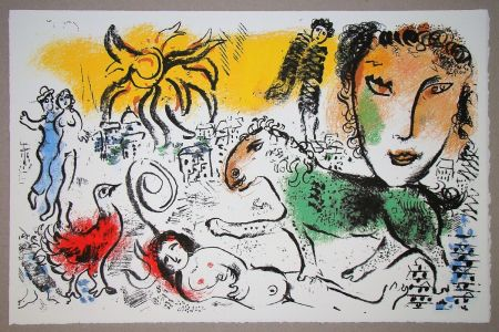 Lithographie Chagall - Le cheval vert