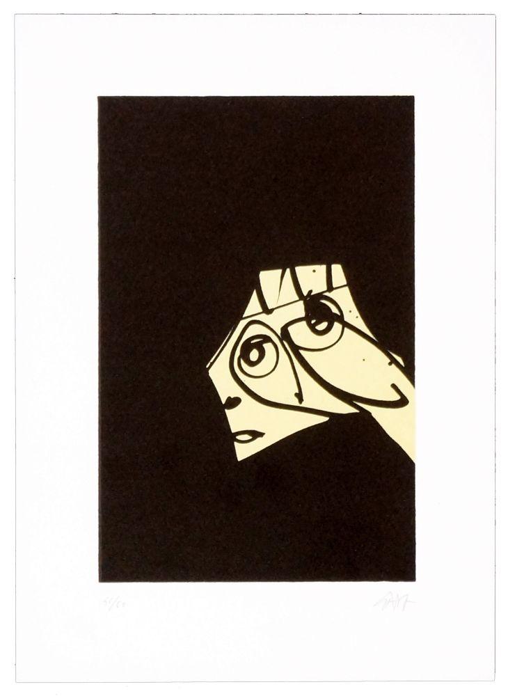 Lithographie Saura - Le chien de Goya