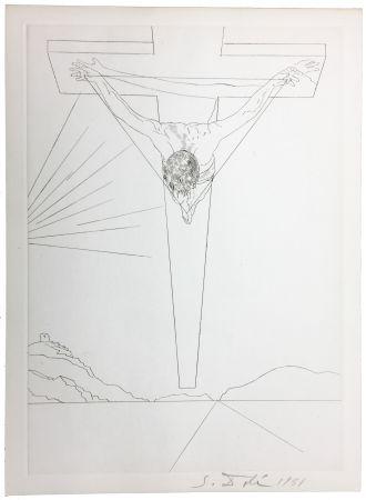 Kaltnadelradierung Dali - Le Christ de Saint-Jean de la Croix (Pointe-sèche pour le Manifeste Mystique). 1951.