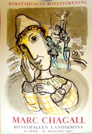 Lithographie Chagall - Le cirque au clown jaune
