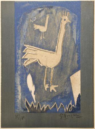 Lithographie Braque - Le Coq (frontispice pour Verve n° 27/28 1953)