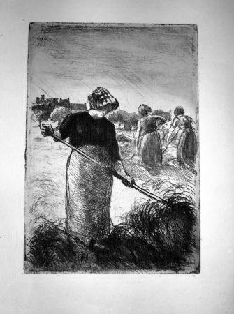 Radierung Pissarro - Le Faneuses