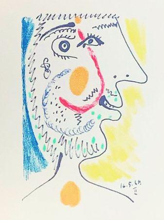 Lithographie Picasso (After) - Le Goût du Bonheur - Portrait d'un homme barbu (1964)
