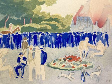 Pochoir Van Dongen - Le Grand prix de Normandie. Pochoir, 1920.
