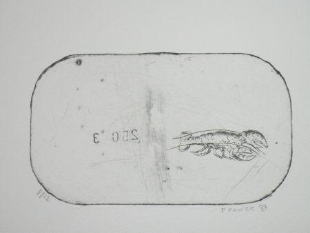 Radierung Favier - Le homard (série des mousselines)