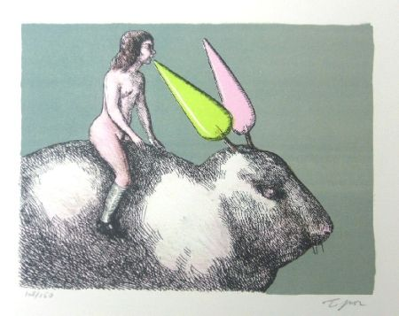 Lithographie Topor - Le lapin