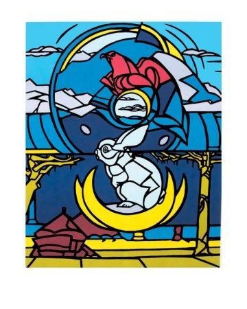 Lithographie Adami - Le lapin, l'aigle et la lune