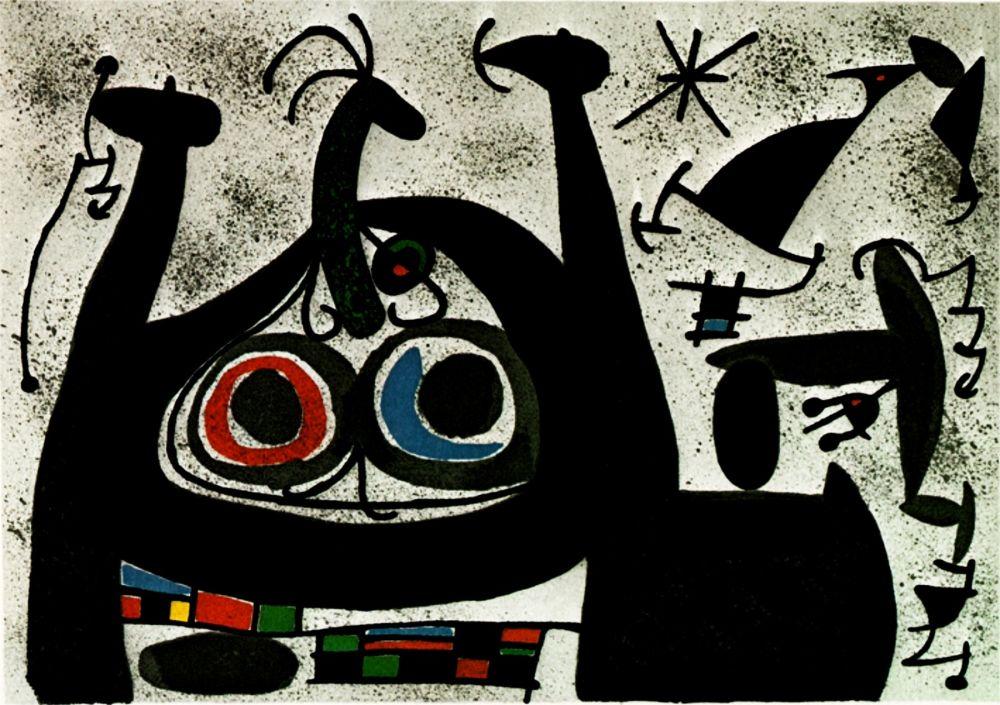 Lithographie Miró -  Le Lezard aux plumes d'or - Arc-en-ciel  - (Maeght 818)