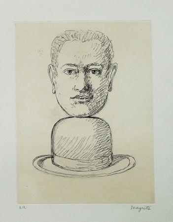 Radierung Und Aquatinta Magritte - Le lien de paille (Man with a Bowler Hat)