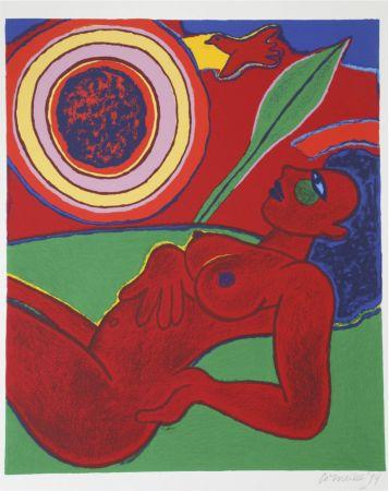 Lithographie Corneille - Le nu rouge en été