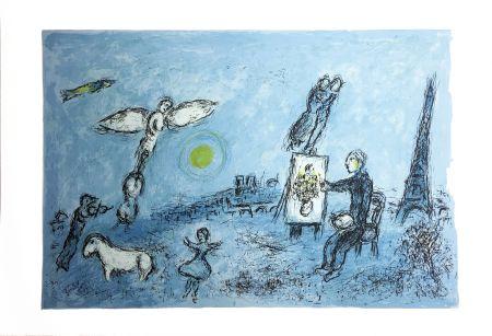 Lithographie Chagall - LE PEINTRE ET SON DOUBLE (Épreuve à plat sur Arches). 1981.
