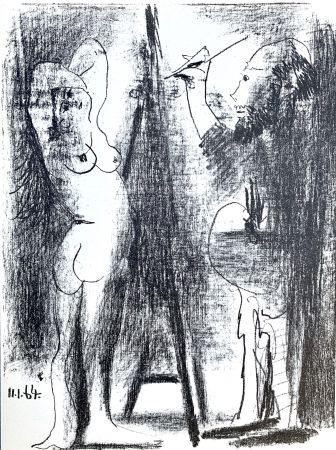 Lithographie Picasso - Le Peintre et son modele