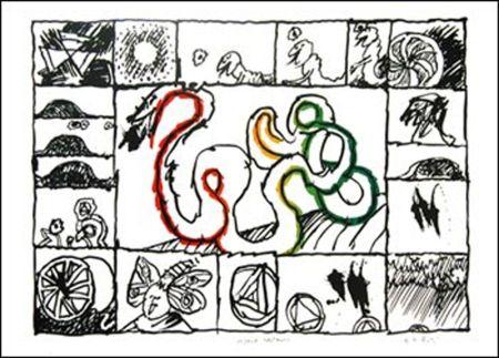 Lithographie Alechinsky - Le Serpent restauré
