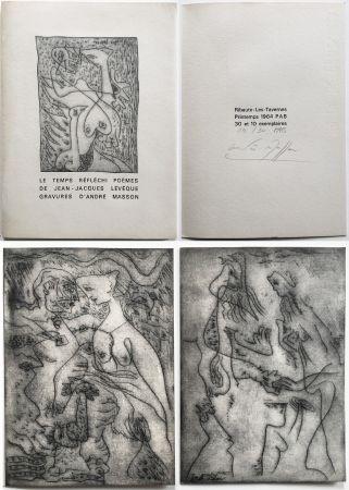 Illustriertes Buch Masson - LE TEMPS RÉFLÉCHI. Poèmes de J.J Lévèque. 3 pointes-sèches sur celluloïd (PAB 1964).