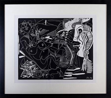 Linolschnitt Picasso - Le Thé: Deux Femmes Nues et une Chat (B. 1851)