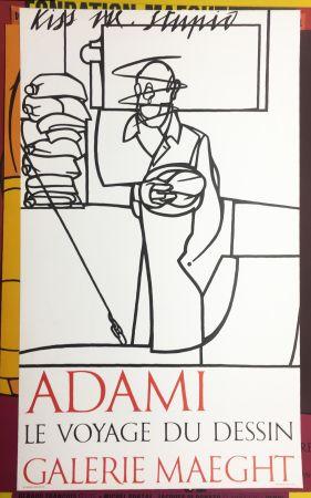 Lithographie Adami - LE VOYAGE DU DESSIN. Adami 1975 (affiche originale).