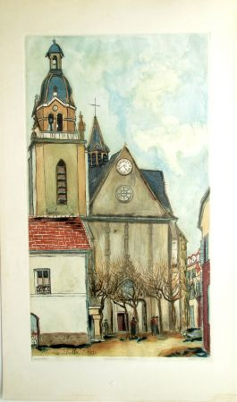 Aquatinta Utrillo - L'Eglise de Limours
