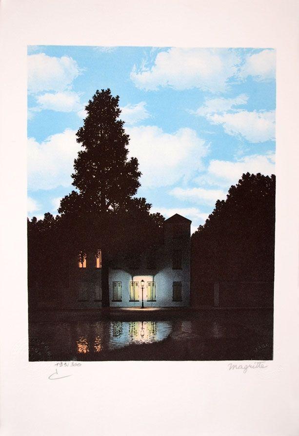 Lithographie Magritte - L'Empire des Lumières - The Empire of Light