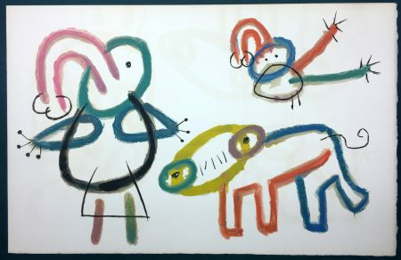 Lithographie Miró - L'Enfance d' Ubu. 13ème planche. 1975