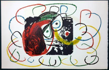 Lithographie Miró - L'Enfance d' Ubu. La 21ème et dernière lithographie du cycle d'Ubu par Miro. 1975