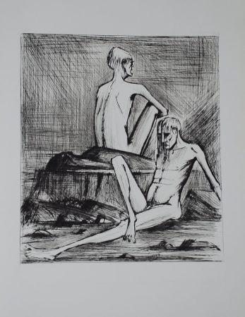 Kaltnadelradierung Buffet - L'enfer de Dante / Deux Damnés