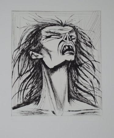 Kaltnadelradierung Buffet - L'enfer de Dante / Figure Eclatée