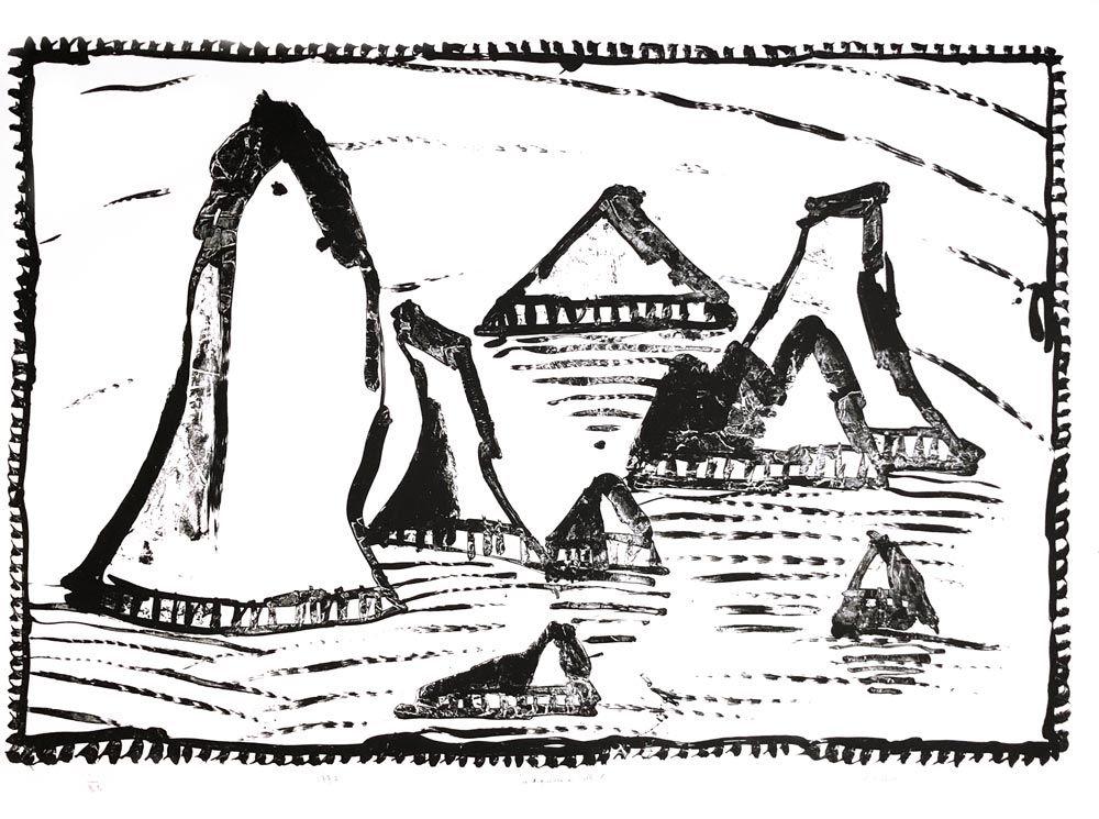 Lithographie Alechinsky - Les Aiguilles de Belle-Ile, Ier état