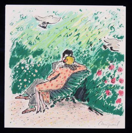 Lithographie Cassigneul  - Les amoureux sur un banc