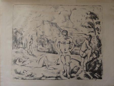 Lithographie Cezanne - Les Baigneurs / The Bathers (Large plate)