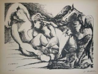 Lithographie Zadkine - Les cavales de Diomède