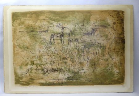 Lithographie Zao - Les cerfs