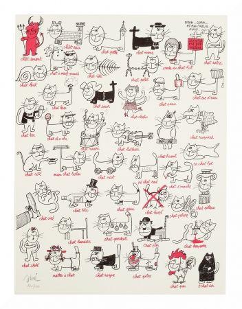Lithographie Siné - Les chats