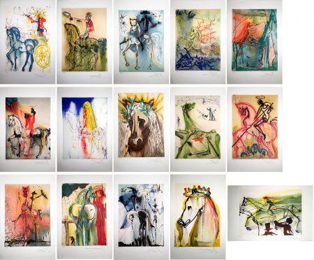 Radierung Und Aquatinta Dali - LES CHEVAUX DALINIENS : 25 lithographies en couleurs signées au crayon (1972/1980)