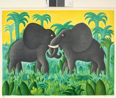 Lithographie Scherfig - Les deux éléphants