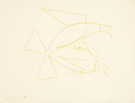Lithographie Picasso - Les deux tourterelles, II