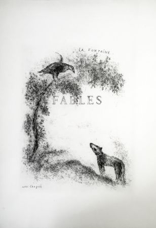 Radierung Chagall - LES FABLES DE LA FONTAINE (Couverture gravée du tome 1). 1952