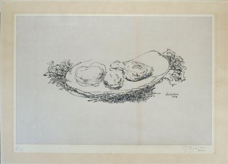 Lithographie Braque - Les Huitres