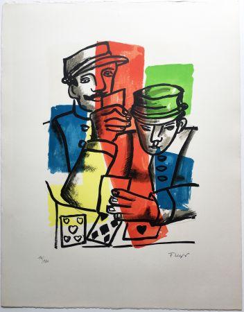Lithographie Leger - LES JOUEURS DE CARTES (La Ville, 1959).