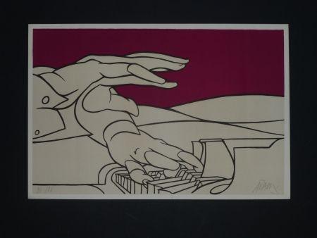 Lithographie Adami - Les mains du pianiste