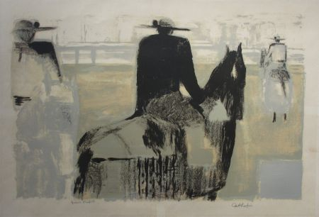 Lithographie Cathelin - Les picadors