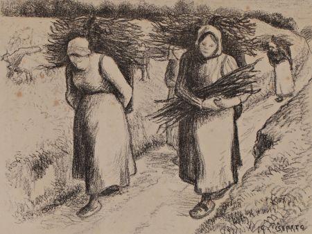Lithographie Pissarro - Les porteuses de fagots