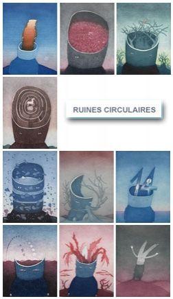 Radierung Und Aquatinta Folon - Les Ruines Circulaires - The Circular Ruins (complet suite)
