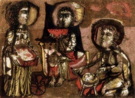 Lithographie Clavé - Les Trois Maries