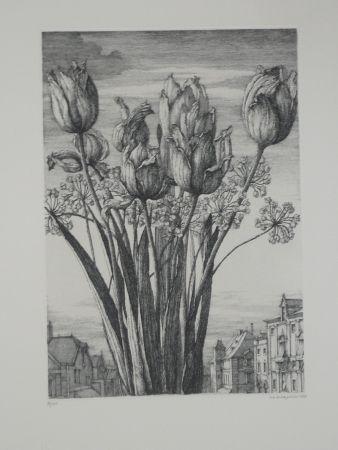 Radierung Desmazières - Les tulipes