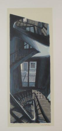 Lithographie Szafran - L'escalier de Saint germain