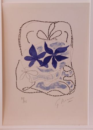 Lithographie Braque - Lettera Amorosa : Les deux iris bleus