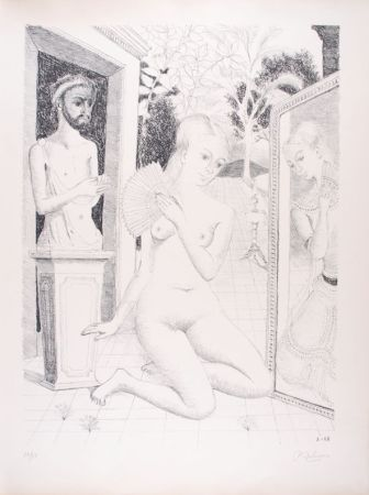Lithographie Delvaux - L'Eventail